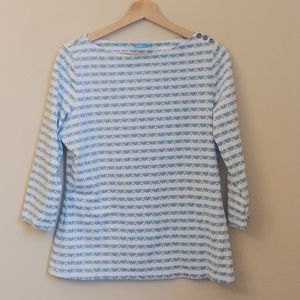 J.McLaughlin Catalina Cloth Blue White Pattern Top